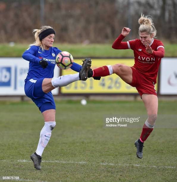 Laura Coombs of Liverpool Ladies competes with Katie Chapman of Chelsea Ladies during the SSE Women's FA Cup Quarter Final match between Liverpool...