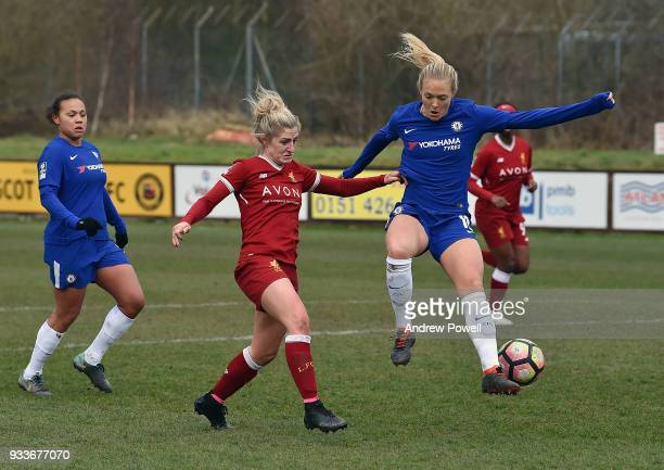 Laura Coombs of Liverpool Ladies competes with Magdalena Eriksson of Chelsea Ladies during the SSE Women's FA Cup Quarter Final match between...
