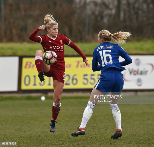 Laura Coombs of Liverpool Ladies during the SSE Women's FA Cup Quarter Final match between Liverpool Ladies and Chelsea Ladies at Prescot Cables on...