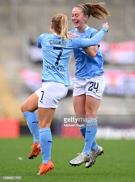 Laura Coombs of Manchester City celebrates with Keira Walsh after scoring her team's second goal during the Barclays FA Women's Super League match...