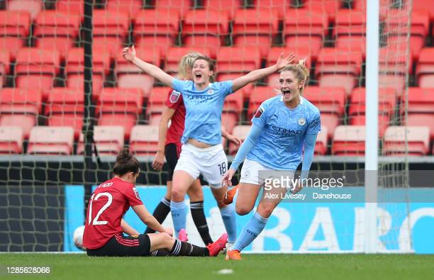 Laura Coombs of Manchester City Women celebrates after scoring their second goal during the Barclays FA Women's Super League match between Manchester...