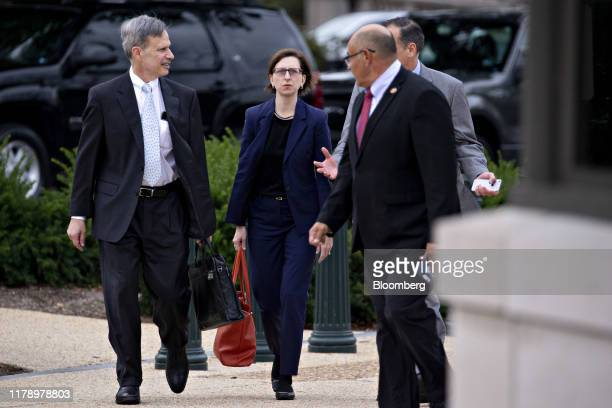 Laura Cooper deputy assistant secretary of defense center arrives to testify for a closeddoor deposition before House committees on Capitol Hill in...
