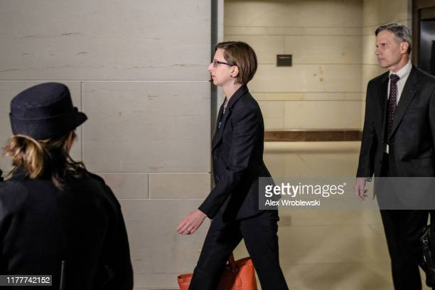 Laura Cooper Deputy Assistant Secretary Of Defense For Russia Ukraine And Eurasia arrives to Capitol Hill prior to testifying on October 23 2019 in...