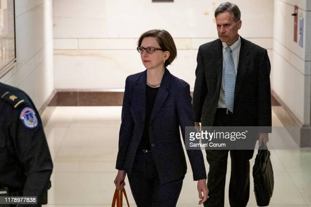 Laura Cooper Deputy Assistant Secretary of Defense for Russia Ukraine and Eurasia walks to the SCIF for her second appearance as part of the...