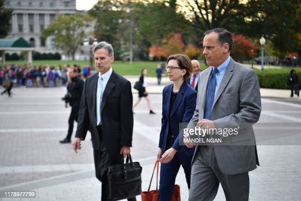 Laura Cooper the Deputy Assistant Secretary of Defense for Russia Ukraine and Eurasia arrives for a closeddoor deposition at the US Capitol in...