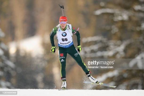 Laura Dahlmeier competes at the 7.5 km Women's Sprint during the IBU Biathlon World Cup at Chiemgau Arena on January 17, 2019 in Ruhpolding, Germany.