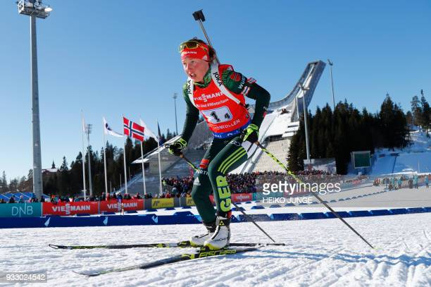 Laura Dahlmeier from Germany competes during the IBU Biathlon World Cup Women 4x6km Relay Competition in Holmenkollen Oslo on March 17 2018 / AFP...