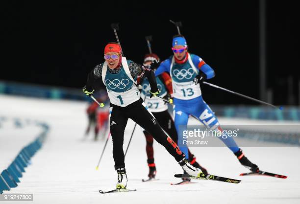 Laura Dahlmeier of Germany and Lisa Vittozzi of Italy compete during the Women's 125km Mass Start Biathlon on day eight of the PyeongChang 2018...