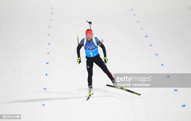 Laura Dahlmeier of Germany approaches the finish line during the Women's 4x6km Relay on day 13 of the PyeongChang 2018 Winter Olympic Games at...