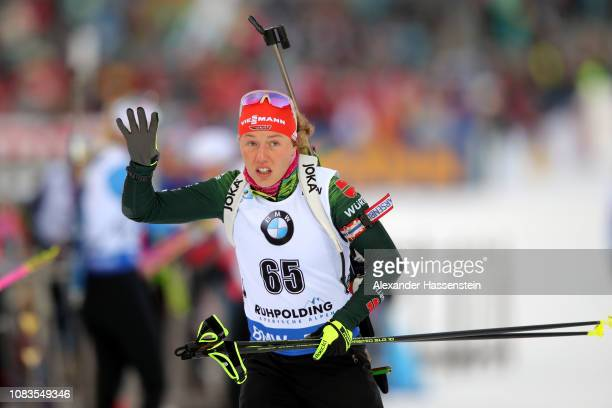 Laura Dahlmeier of Germany at the zeoring for the 7.5 km Women's Sprint during the IBU Biathlon World Cup at Chiemgau Arena on January 17, 2019 in...