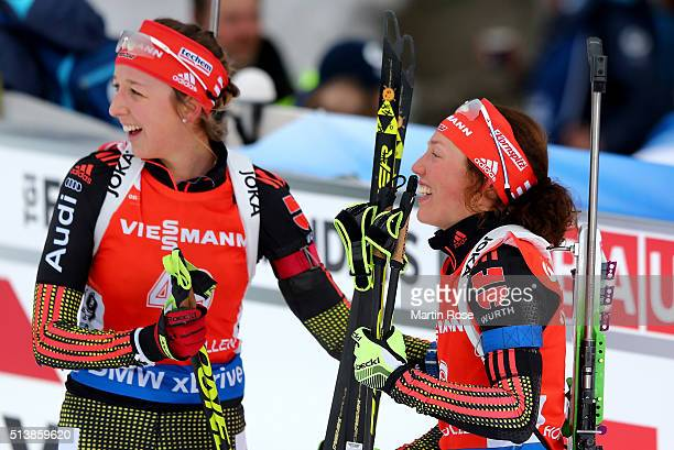 Laura Dahlmeier of Germany celebrates after winning the bronze medal in the women's 75km sprint during day three of the IBU Biathlon World...