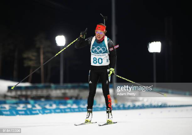 Laura Dahlmeier of Germany celebrates at the finish during the Women's 15km Individual Biathlon at Alpensia Biathlon Centre on February 15 2018 in...