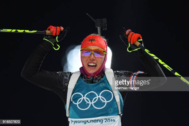 Laura Dahlmeier of Germany celebrates crossing the finih line during the Women's Biathlon 7.5km Sprint on day one of the PyeongChang 2018 Winter...