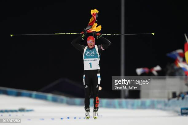 Laura Dahlmeier of Germany celebrates during the Women's Biathlon 10km Pursuit on day three of the PyeongChang 2018 Winter Olympic Games at Alpensia...