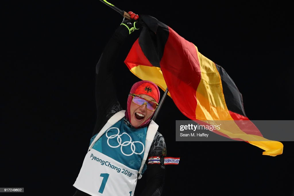 Laura Dahlmeier of Germany celebrates her time after crossing the finish line during the Women's Biathlon 10km Pursuit on day three of the PyeongChang 2018 Winter Olympic Games at Alpensia Biathlon Centre on February 12, 2018 in Pyeongchang-gun, South Korea.
