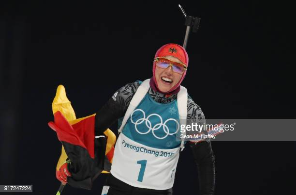 Laura Dahlmeier of Germany celebrates her time during the Women's Biathlon 10km Pursuit on day three of the PyeongChang 2018 Winter Olympic Games at...