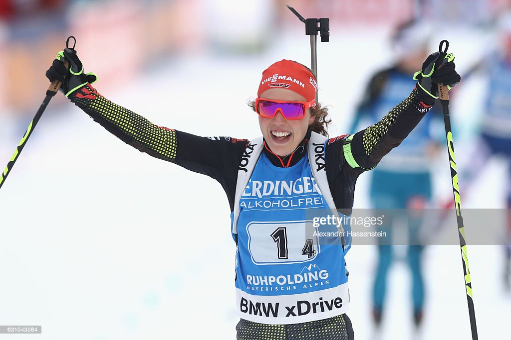Laura Dahlmeier of Germany celebrates on the finish line winning the 4x6 km Women's Relay during the IBU Biathlon World Cup at Chiemgau Arena on January 12, 2017 in Ruhpolding, Germany.