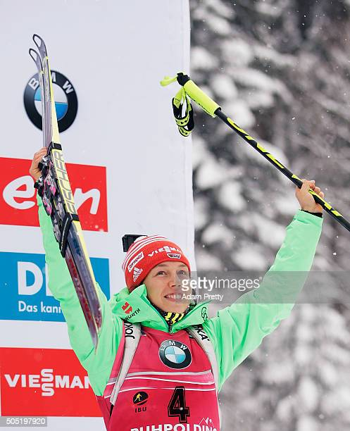 Laura Dahlmeier of Germany celebrates third place celebrate after the Women's 125km Biathlon race of the Ruhpolding IBU Biathlon World Cup on January...