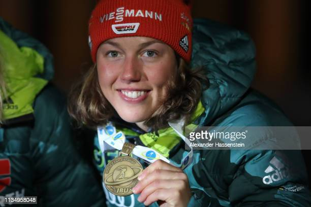 Laura Dahlmeier of Germany celebrates winning the Bronze medal at the Medal Ceremony for the IBU Biathlon World Championships Women's Pursuit on...
