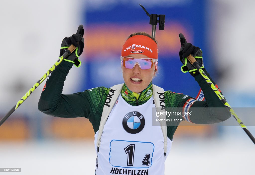 Laura Dahlmeier of Germany celebrates winning the Women's 4x 6km relay competition of the BMW IBU World Cup Biathlon on December 10, 2017 in Hochfilzen, Austria.