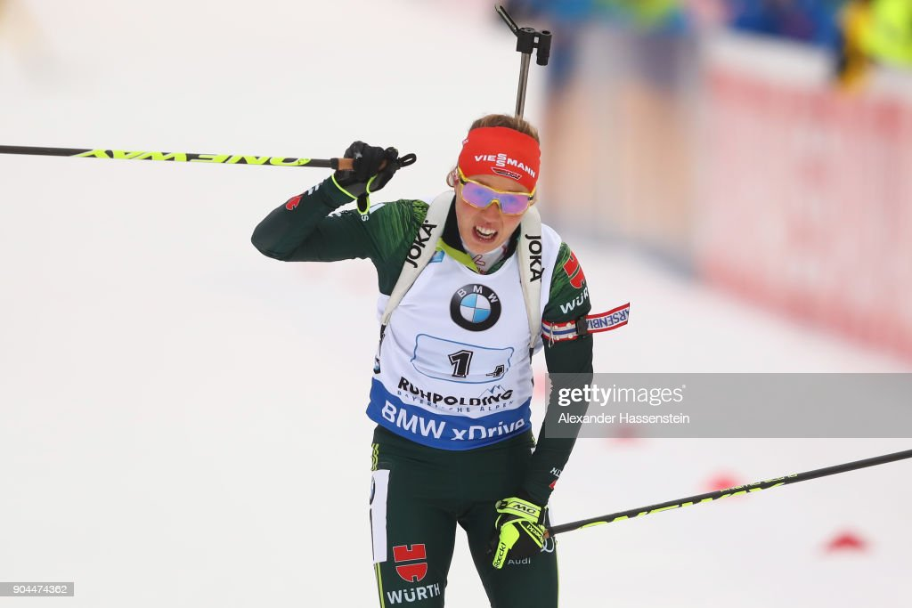 Laura Dahlmeier of Germany celebrates winning the women's 6km relay competition during the IBU Biathlon World Cup at Chiemgau Arena on January 13, 2018 in Ruhpolding, Germany.
