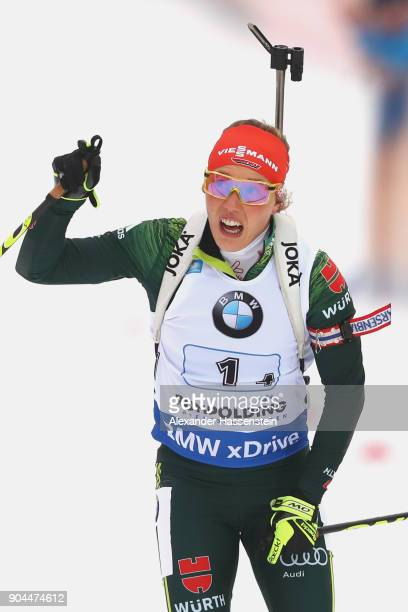 Laura Dahlmeier of Germany celebrates winning the women's 6km relay competition during the IBU Biathlon World Cup at Chiemgau Arena on January 13,...
