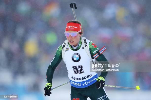 Laura Dahlmeier of Germany competes at the IBU Biathlon World Championships Women 7.5km Sprint at Swedish National Biathlon Arena on March 08, 2019...