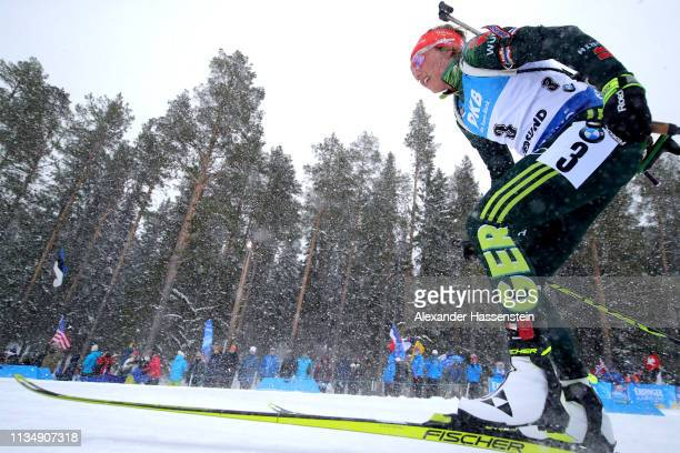 Laura Dahlmeier of Germany competes at the IBU Biathlon World Championships Women's Pursuit at Swedish National Biathlon Arena on March 10, 2019 in...