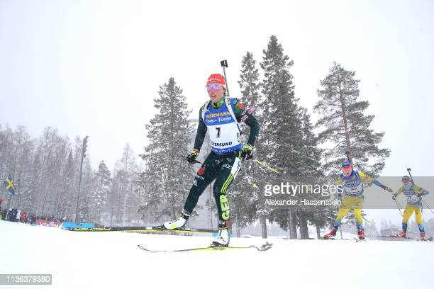 Laura Dahlmeier of Germany competes at the IBU Biathlon World Championships Women's Mass Start at Swedish National Biathlon Arena on March 17 2019 in...