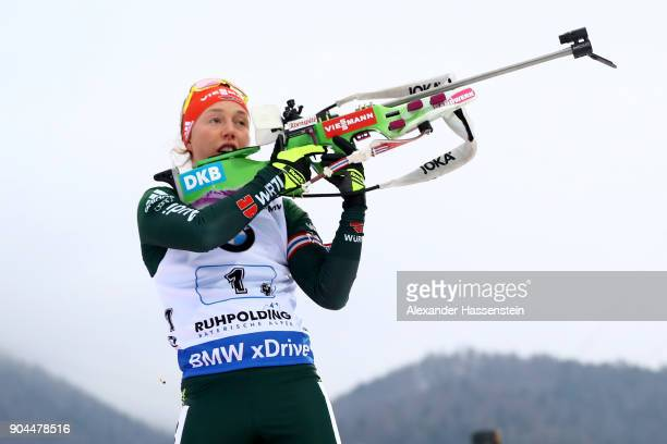 Laura Dahlmeier of Germany competes at the women's 6km relay competition during the IBU Biathlon World Cup at Chiemgau Arena on January 13 2018 in...