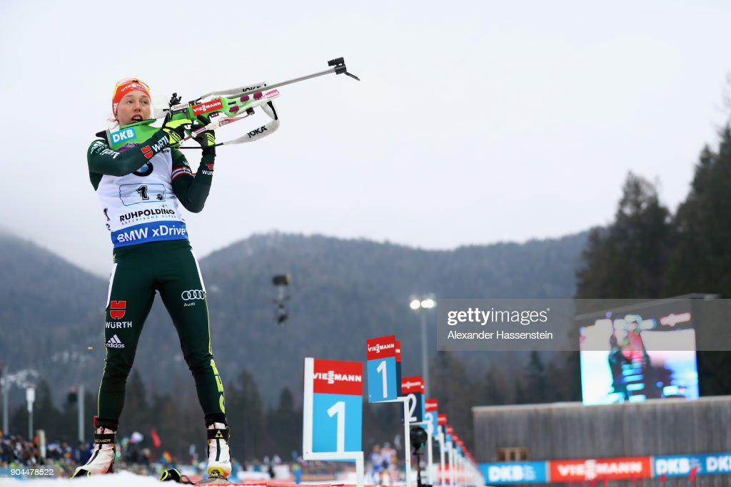 Laura Dahlmeier of Germany competes at the women's 6km relay competition during the IBU Biathlon World Cup at Chiemgau Arena on January 13, 2018 in Ruhpolding, Germany.
