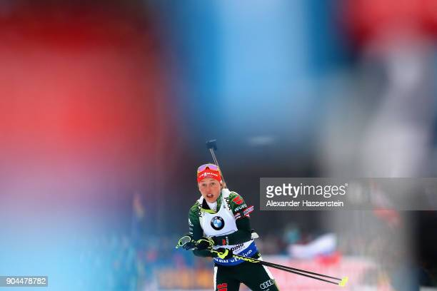 Laura Dahlmeier of Germany competes at the women's 6km relay competition during the IBU Biathlon World Cup at Chiemgau Arena on January 13, 2018 in...