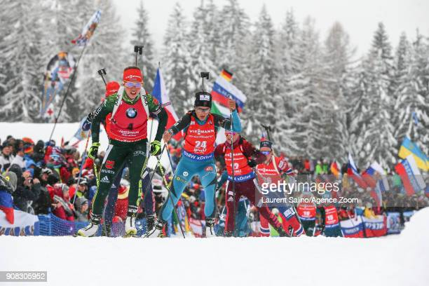 Laura Dahlmeier of Germany competes Celia Aymonier of France competes during the IBU Biathlon World Cup Men's and Women's Mass Start on January 21...