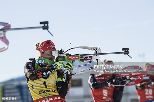 Laura Dahlmeier of Germany competes during the 125 km women's Mass Start on January 21 2017 in AntholzAnterselva Italy