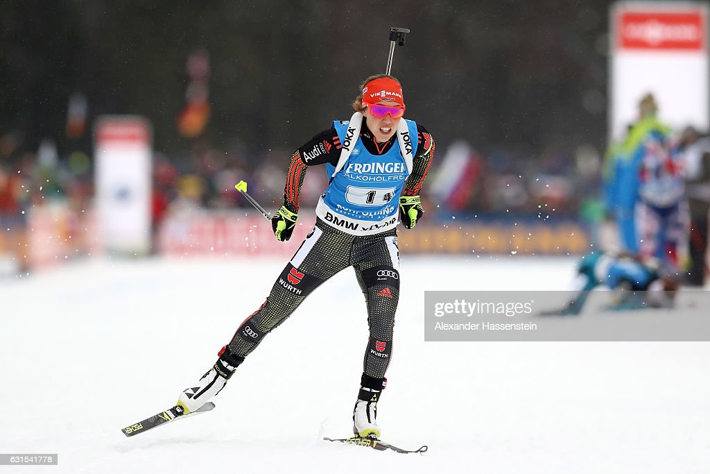 Laura Dahlmeier of Germany competes during the 4x6 km Women's Relay during the IBU Biathlon World Cup at Chiemgau Arena on January 12, 2017 in Ruhpolding, Germany.