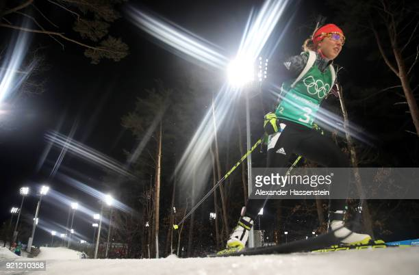 Laura Dahlmeier of Germany competes during the Biathlon 2x6km Women 2x75km Men Mixed Relay on day 11 of the PyeongChang 2018 Winter Olympic Games at...