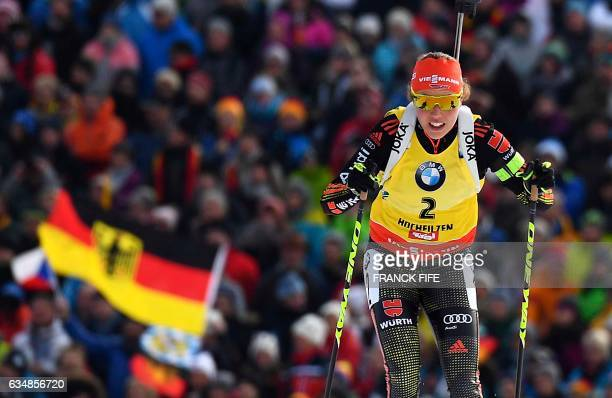 Laura Dahlmeier of Germany competes during the Women's 10 km pursuit race during the 2017 IBU World Championships Biathlon in Hochfilzen, on February...