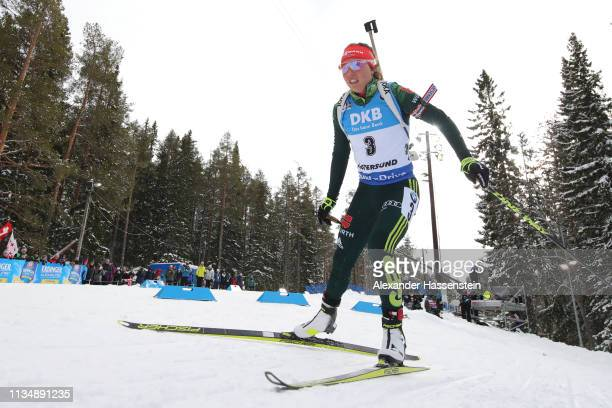 Laura Dahlmeier of Germany competes during the Women's 10km Pursuit race at the IBU Biathlon World Championships at Swedish National Biathlon Arena...