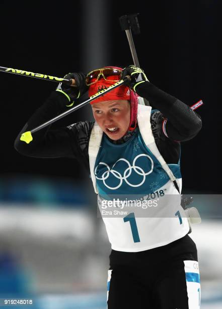 Laura Dahlmeier of Germany competes during the Women's 125km Mass Start Biathlon on day eight of the PyeongChang 2018 Winter Olympic Games at...