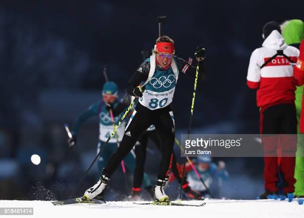 Laura Dahlmeier of Germany competes during the Women's 15km Individual Biathlon at Alpensia Biathlon Centre on February 15 2018 in Pyeongchanggun...