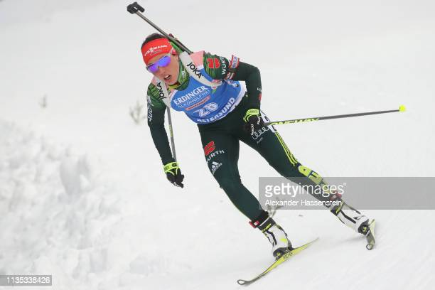 Laura Dahlmeier of Germany competes during the Women's 15km race at the IBU Biathlon World Championships at Swedish National Biathlon Arena on March...