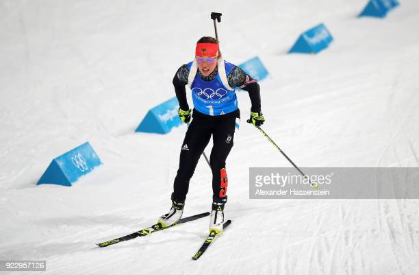 Laura Dahlmeier of Germany competes during the Women's 4x6km Relay on day 13 of the PyeongChang 2018 Winter Olympic Games at Alpensia Biathlon Centre...