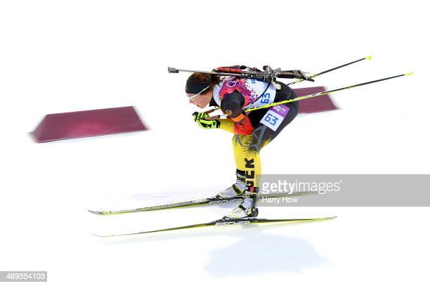 Laura Dahlmeier of Germany competes in the Women's 15 km Individual during day seven of the Sochi 2014 Winter Olympics at Laura Crosscountry Ski...