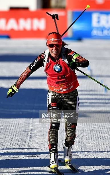 Laura Dahlmeier of Germany crosses the finish line after winning the Women's 15km individual competition of the IBU World Cup Biathlon in Anterselva...