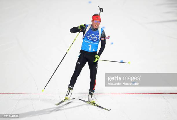 Laura Dahlmeier of Germany crosses the finish line during the Women's 4x6km Relay on day 13 of the PyeongChang 2018 Winter Olympic Games at Alpensia...
