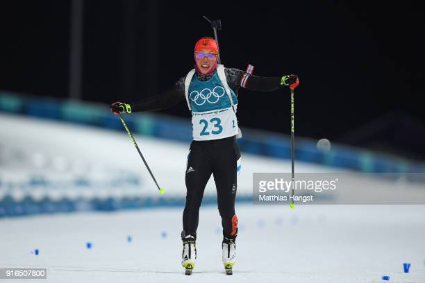 Laura Dahlmeier of Germany crosses the finishing line during the Women's Biathlon 75km Sprint on day one of the PyeongChang 2018 Winter Olympic Games...