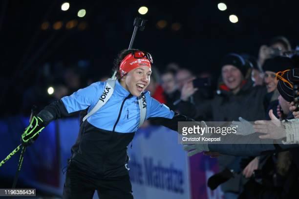 Laura Dahlmeier of Germany does alap of honour after the Biathlon World Team Challenge at Veltins Arena on December 28, 2019 in Gelsenkirchen,...