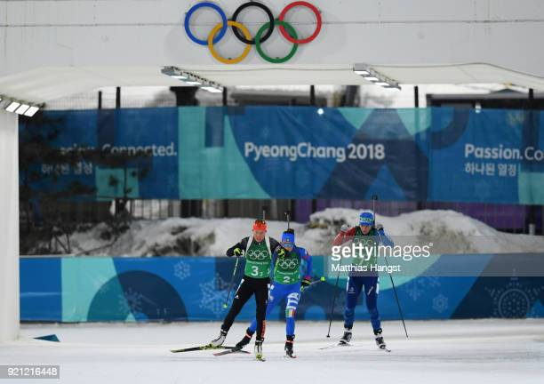 Laura Dahlmeier of Germany Dorothea Wierer of Italy and Anais Bescond of France compete during the Biathlon 2x6km Women 2x75km Men Mixed Relay on day...