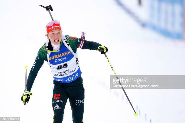 Laura Dahlmeier of Germany in action during the IBU Biathlon World Cup Women's Sprint on December 14 2017 in Le Grand Bornand France