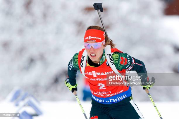 Laura Dahlmeier of Germany in action during the IBU Biathlon World Cup Men's and Women's Pursuit on December 16, 2017 in Le Grand Bornand, France.